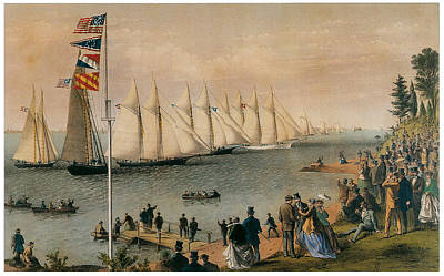 Yacht Club Painting - The New York Yacht Club Regatta by Charles Parsons and LyAtwater Nathaniel Currier