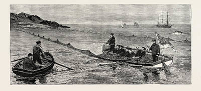 Newfoundland Drawing - The Newfoundland Fisheries Question British Man Of War by Canadian School