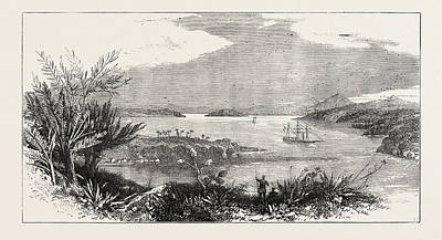 Antique Vessel Drawing - The Newly-discovered Harbour Of Mto Mtwara by English School