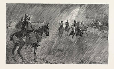 Rain Drawing - The Newmarket October Meeting Rain On The Course A Good by English School