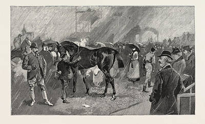 Rainy Day Drawing - The Newmarket October Meeting The Birdcage On A Rainy Day by English School
