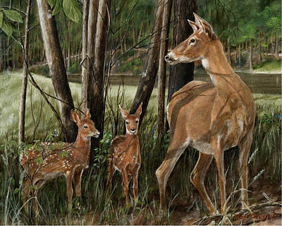 Twin Fawns Painting - The Next Generation by Rob Dreyer