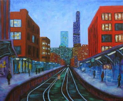 Chicago At Night Painting - The Next Train by J Loren Reedy