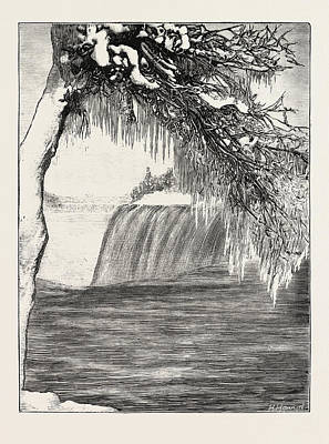 Luna Drawing - The Niagara Falls In Winter Time American Fall From Luna by English School