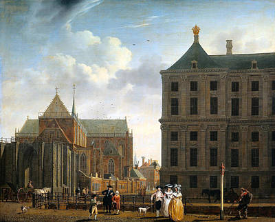 Victorian Town Digital Art - The Nieuwe Kerk And The Rear Of The Town Hall In Amsterdam  by Isaak Ouwater
