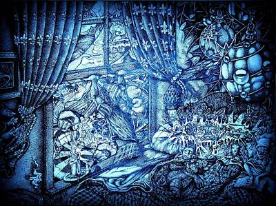 The Night Before Christmas Part Two Blue Print by Frankie  Caron