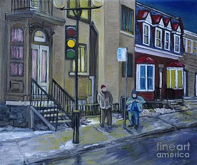 Montreal Buildings Painting - The Night Shift Waiting For The Bus by Reb Frost