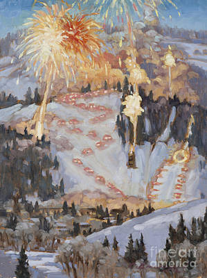 Fireworks Painting - The Night Show by Chula Beauregard