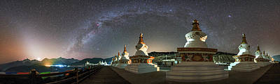 Tibetan Buddhism Photograph - The Night Sky Over A Buddhist Shrine by Jeff Dai