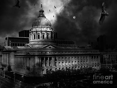 The Night The Vultures Returned To San Francisco City Hall 5d22510 Black And White Art Print by Wingsdomain Art and Photography