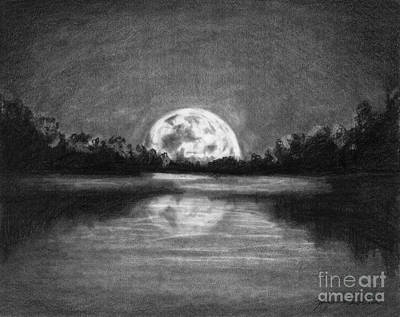 Drawing - The Night Walked Down The Sky by J Ferwerda