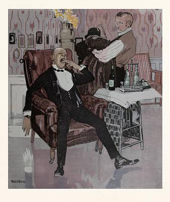 Nightcap Drawing - The Nightcap, German by Gotz, Ferdinand (1874-1936), German
