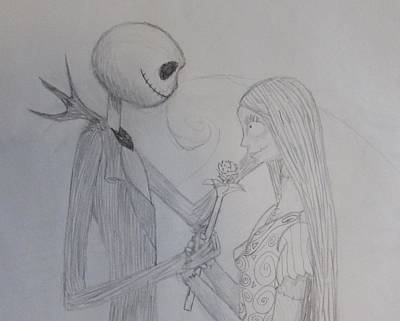 Nightmare Before Christmas Drawing - The Nightmare Before Christmas by Aimee Strausbough