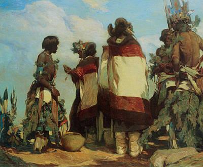 Borg Painting - The Niman Kachinas by Carl Oscar Borg