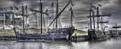 Muelle Photograph - The Nina And Pinta Columbus Replica Ships  V10 by John Straton