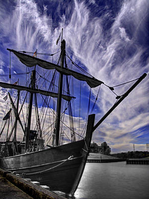 Muelle Photograph - The Nina And Pinta  Columbus Replica Ships  V11 by John Straton