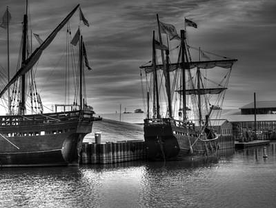Muelle Photograph - The Nina And Pinta Columbus Replica Ships  V2 by John Straton