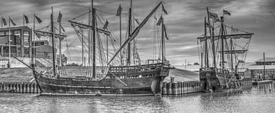 Muelle Photograph - The Nina And Pinta  Columbus Replica Ships  V9 by John Straton