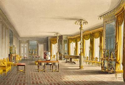 Pillar Drawing - The North Drawing Room, Or Music Room by English School