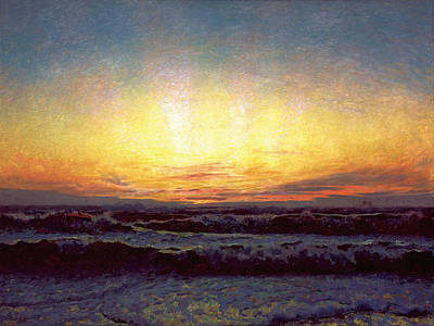 Stormy Weather Painting - The North Sea In Stormy Weather.  After Sunset. Hojen by Laurits Tuxen