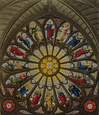 Westminster Abbey Drawing - The North Window by William Johnstone White