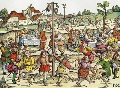 The Nose Dance, After A 16th Century Woodcut By Nikolaus Meldemann.  A Rural German Dance Festival Art Print