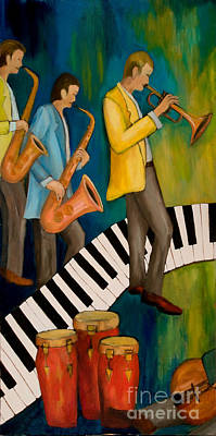 Beale Street Painting - The Nostalgia Jazz Band I by Larry Martin
