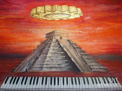 Chichen Itza Painting - The Notes Of The Created by Anna Maria Guarnieri
