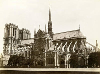14th Century Photograph - The Notre Dame De Paris by Jules Hautecoeur