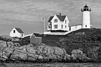 Photograph - The Nubble - Bw by Nikolyn McDonald
