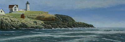 Nubble Lighthouse Painting - The Nubble by Nan McCarthy