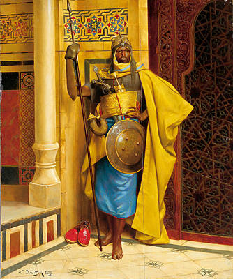 Nubian Painting - The Nubian Palace Guard by Ludwig Deutsch