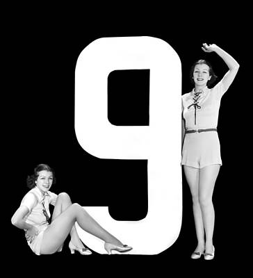 The Number 9 And Two Women Art Print by Underwood Archives