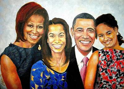 Obama Family Painting - The Obama Family by G Cuffia