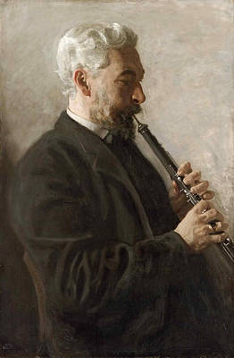 Musician Framed Painting - The Oboe Player . Portrait Of Dr. Benjamin Sharp by Thomas Eakins