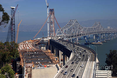 Photograph - The Old And New East Span Of The San Francisco Oakland Bay Bridge 2011 by California Views Mr Pat Hathaway Archives