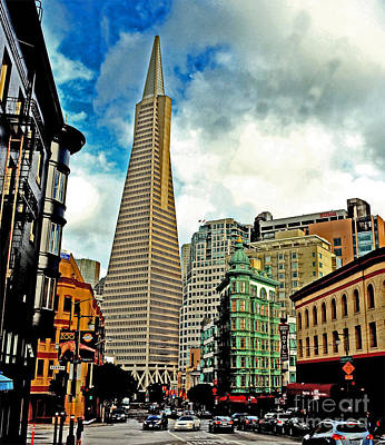 Photograph - The Old And The New The Columbus Tower And The Transamerica Pyramid Altered by Jim Fitzpatrick
