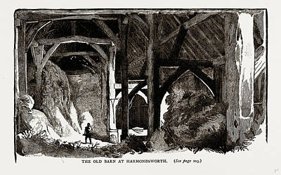 Old Barns Drawing - The Old Barn At Harmondsworth, Uk by Litz Collection