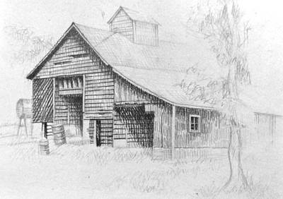 Abandoned Building Drawing - The Old Barn by Bern Miller