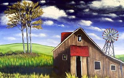 Abstract Realist Landscape Painting - The Old Barn House by Joy Gilley
