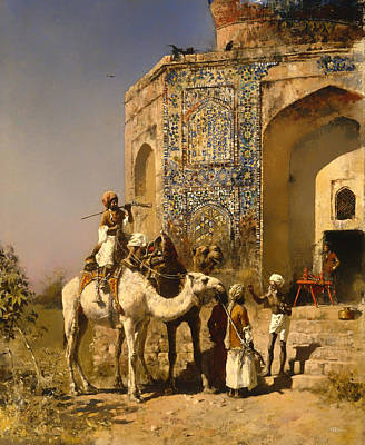 Fine Art India Painting - The Old Blue Tiled Mosque - India by Mountain Dreams