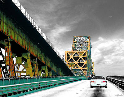 Digital Art - The Old Bridge Hwy 190 Mississippi River Bridge Baton Rouge by Lizi Beard-Ward