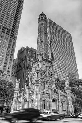 Old Chicago Water Tower Photograph - The Old Chicago Water Tower Bw by Noah Katz
