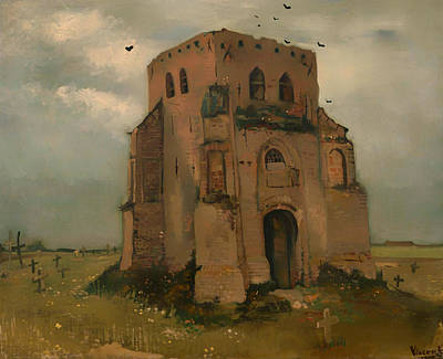 Headstones Painting - The Old Church Tower At Neunen by Mountain Dreams