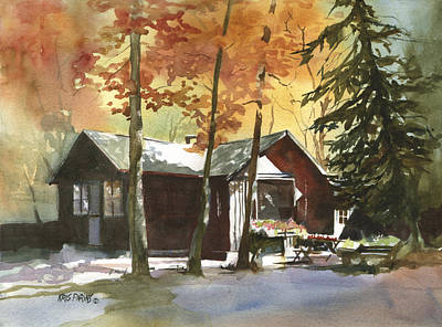 Log Cabin Painting - The Old Cottage by Kris Parins