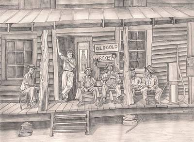 Country Store Drawing - The Old County Store by Beverly Marshall