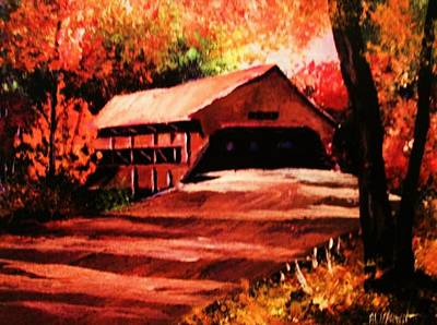 Covered Bridge Painting - The Old Covered Bridge by Al Brown