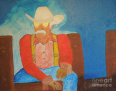 Painting - The Old Cowboy by Richard W Linford