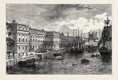 1753 Drawing - The Old Custom House In 1753. London, Uk by Litz Collection