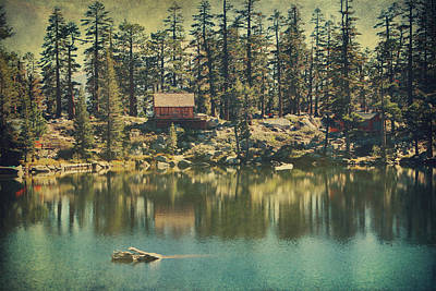 Water Reflections Digital Art - The Old Days By The Lake by Laurie Search